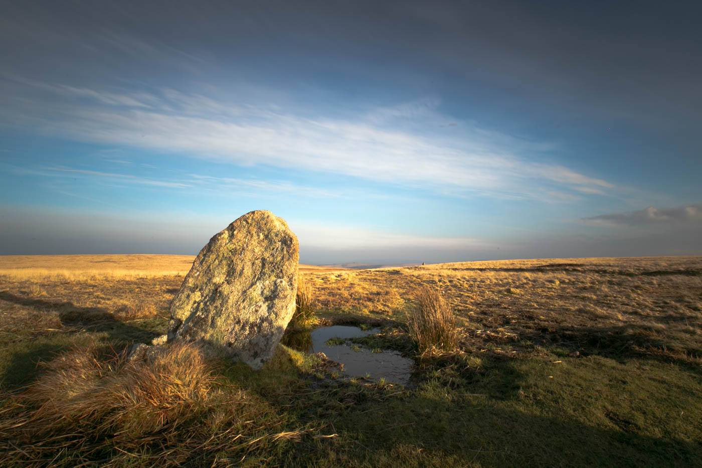 One of the stones of White Moor Stone Circle on Dartmoor National Park