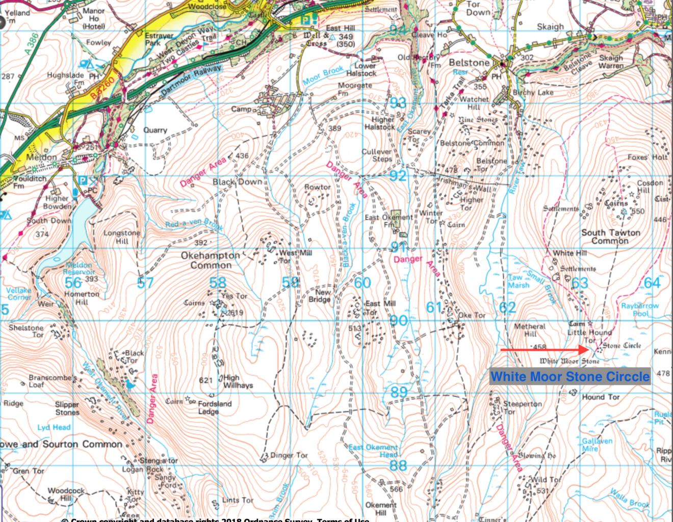 A map showing the location of the White Moor Stone Circle on northern Dartmoor National Park