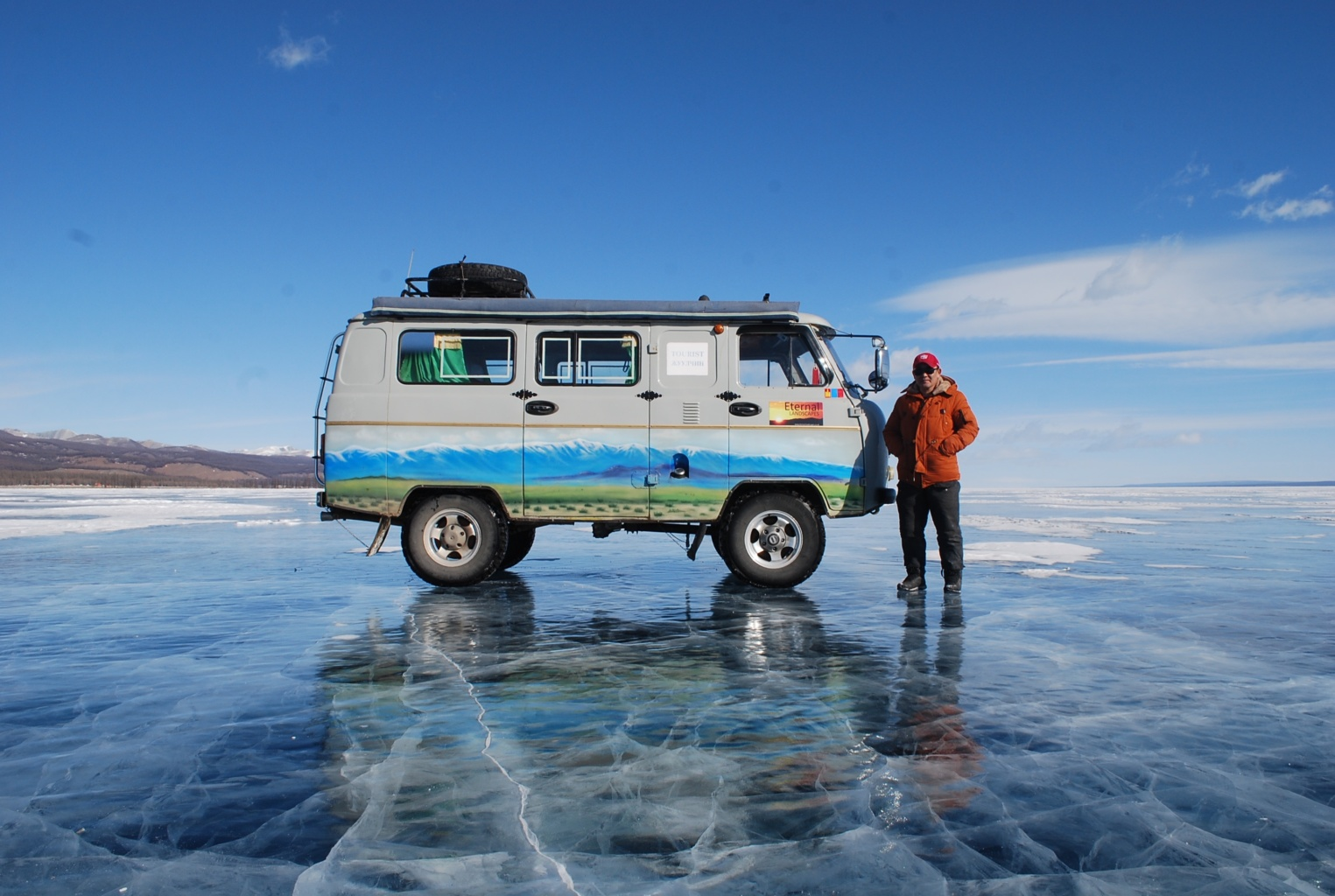 The frozen winter surfaces of Khovsgol Nuur National Park in Mongolia. In the summer, Khovsgol Nuur is perfect for swimming in Mongolia